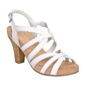 NWOB Aerosoles Headline White Leather Sandal Heels